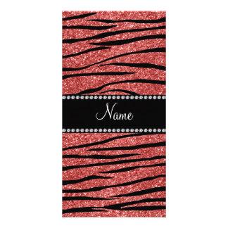 Personalize name coral pink glitter zebra stripes photo greeting card