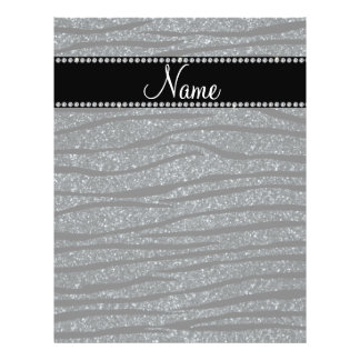 Personalize name dark gray glitter zebra stripes flyers