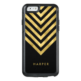 Personalize Name Elegant Black Faux Gold Geometric OtterBox iPhone 6/6s Case