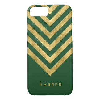 Personalize Name Elegant Green Faux Gold Geometric iPhone 7 Case