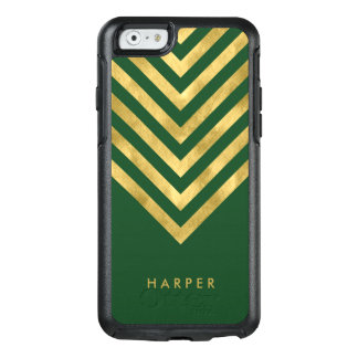 Personalize Name Elegant Green Faux Gold Geometric OtterBox iPhone 6/6s Case