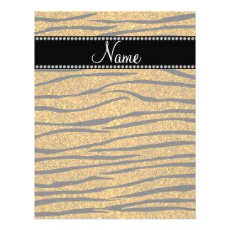 Personalize name gold glitter zebra stripes full color flyer
