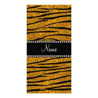 Personalize name gold glitter zebra stripes customized photo card