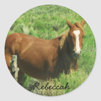 Personalize Name Horse Round Sticker
