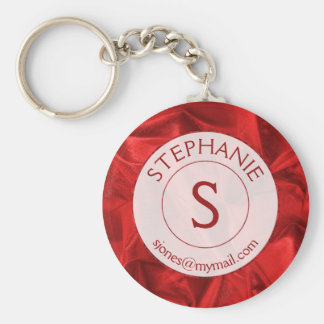 Personalize: Name/ID Red Textured Round Key Ring