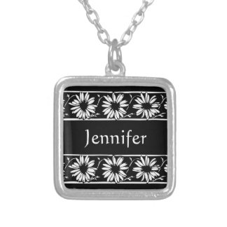 Personalize Name Initials Monogram Daisy Pattern Silver Plated Necklace