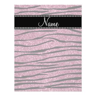 Personalize name misty pink glitter zebra stripes flyers