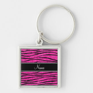 Personalize name neon hot pink glitter zebra strip Silver-Colored square key ring