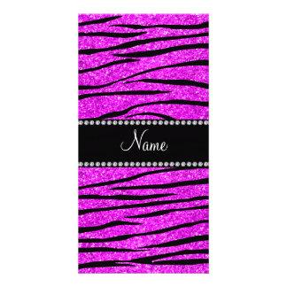 Personalize name neon pink glitter zebra stripes customized photo card