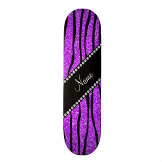 Personalize name neon purple glitter zebra stripes custom skate board