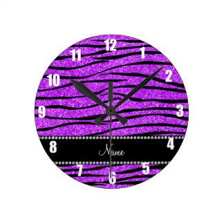 Personalize name neon purple glitter zebra stripes wall clocks