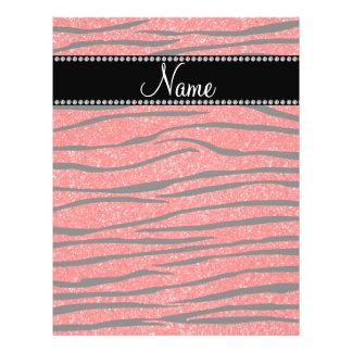 Personalize name neon red glitter zebra stripes flyer