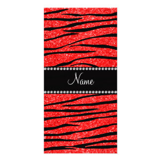 Personalize name neon red glitter zebra stripes photo card template