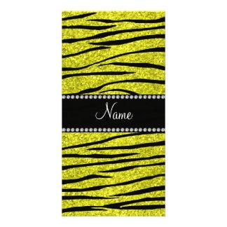 Personalize name neon yellow glitter zebra stripes personalized photo card