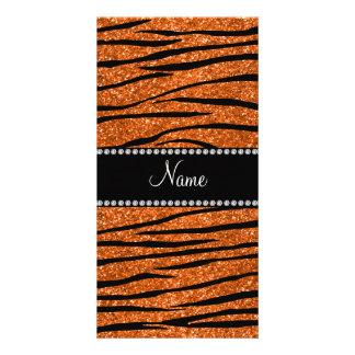 Personalize name orange glitter zebra stripes photo card