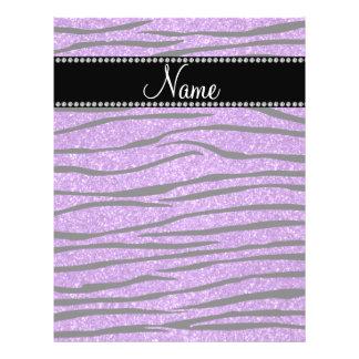 Personalize name pastel purple glitter zebra strip flyer