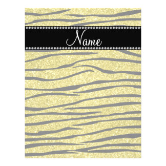 Personalize name pastel yellow glitter zebra strip flyer design