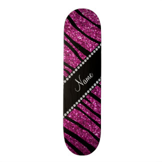 Personalize name pink glitter zebra stripes skateboard deck