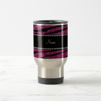 Personalize name pink glitter zebra stripes stainless steel travel mug