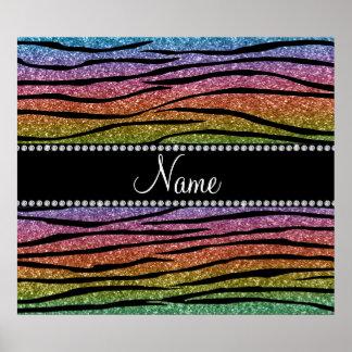 Personalize name rainbow glitter zebra stripes poster