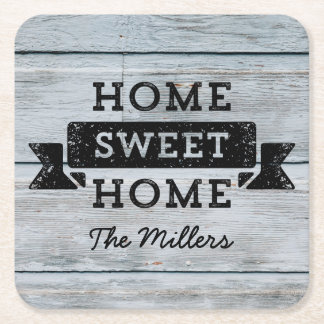 Personalize Name Rustic Home Sweet Home Pale Wood Square Paper Coaster