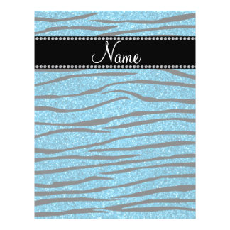 Personalize name sky blue glitter zebra stripes flyers