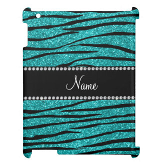 Personalize name turquoise glitter zebra stripes iPad cases