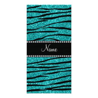 Personalize name turquoise glitter zebra stripes custom photo card