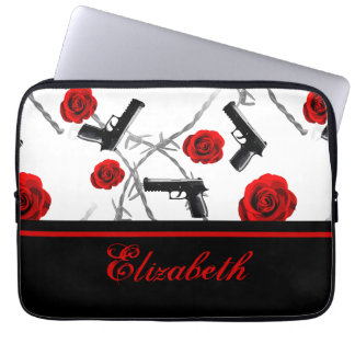 Personalize Name Women's Red Rose Gun Barbed Wire Laptop Sleeve