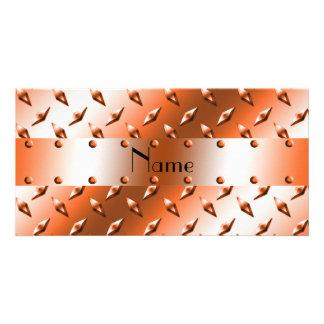 Personalize named orange diamond steel plate photo greeting card