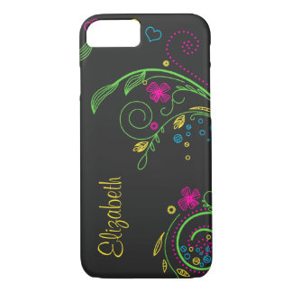 Personalize Neon Floral iPhone 7 Case