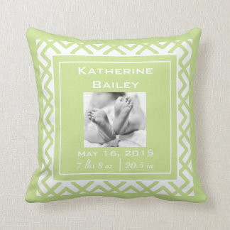 Personalize Nursery Baby Announcement, Lime Green Throw Pillow
