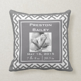 Personalize Nursery Birth Announcement, Gray Cushion