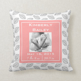 Personalize Nursery Birth Announcement, Pink Coral Cushions
