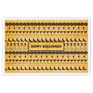 Personalize: Orange Halloween Fun Font Art Pattern Acrylic Tray