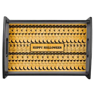 Personalize: Orange Halloween Fun Font Art Pattern Serving Tray