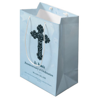 Personalize, Ordination Anniversary Priest, Cross Medium Gift Bag