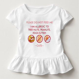 Personalize Peanut Tree Nut Egg & Fish Allergy Kid Toddler T-Shirt