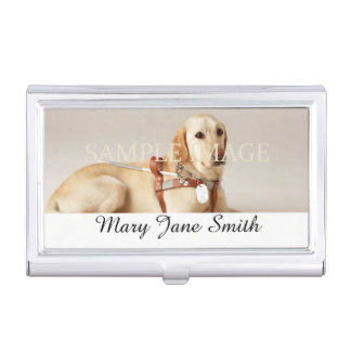 Personalize pet photo name business card holder