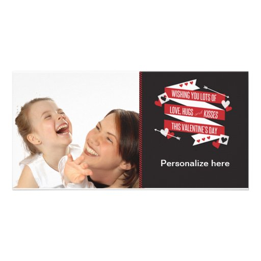 Personalize Photo Hugs and Kisses Valentine's Card Photo Cards