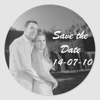 PERSONALIZE PHOTO SAVE THE DATE ROUND STICKER