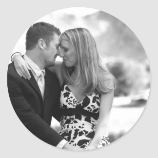 PERSONALIZE PHOTO WEDDING FAVORS ROUND STICKER