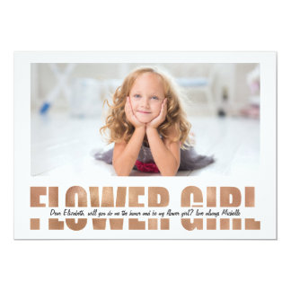 PERSONALIZE PHOTO WILL YOU BE MY FLOWER GIRL 13 CM X 18 CM INVITATION CARD