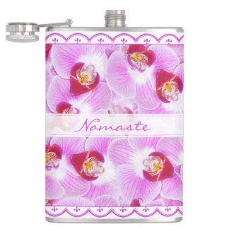 Personalize:  Photography Purple Tropical Orchids Hip Flask
