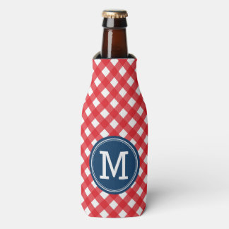 Personalize Picnic Red Gingham Monogram Bottle Cooler