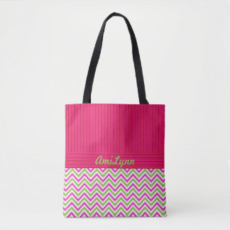 Personalize-PINK-Green Chevron-Sophisticated-Tote Tote Bag