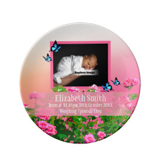 Personalize Pink Newborn Baby Girl Rose Sunset Plate