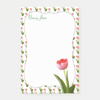 Personalize - Pink Spring Tulip Floral Photography Post-it Notes