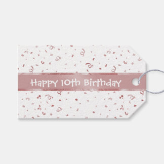 Personalize: Pink Textured Fabric Look Birthday Gift Tags