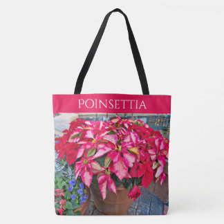 Personalize:  Poinsettia Christmas Photograph Tote Bag